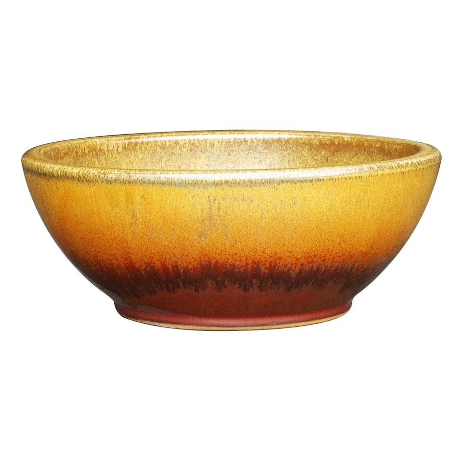 allen + roth 13-in x 5.7-in Red/Gold Ceramic Low Bowl Planter