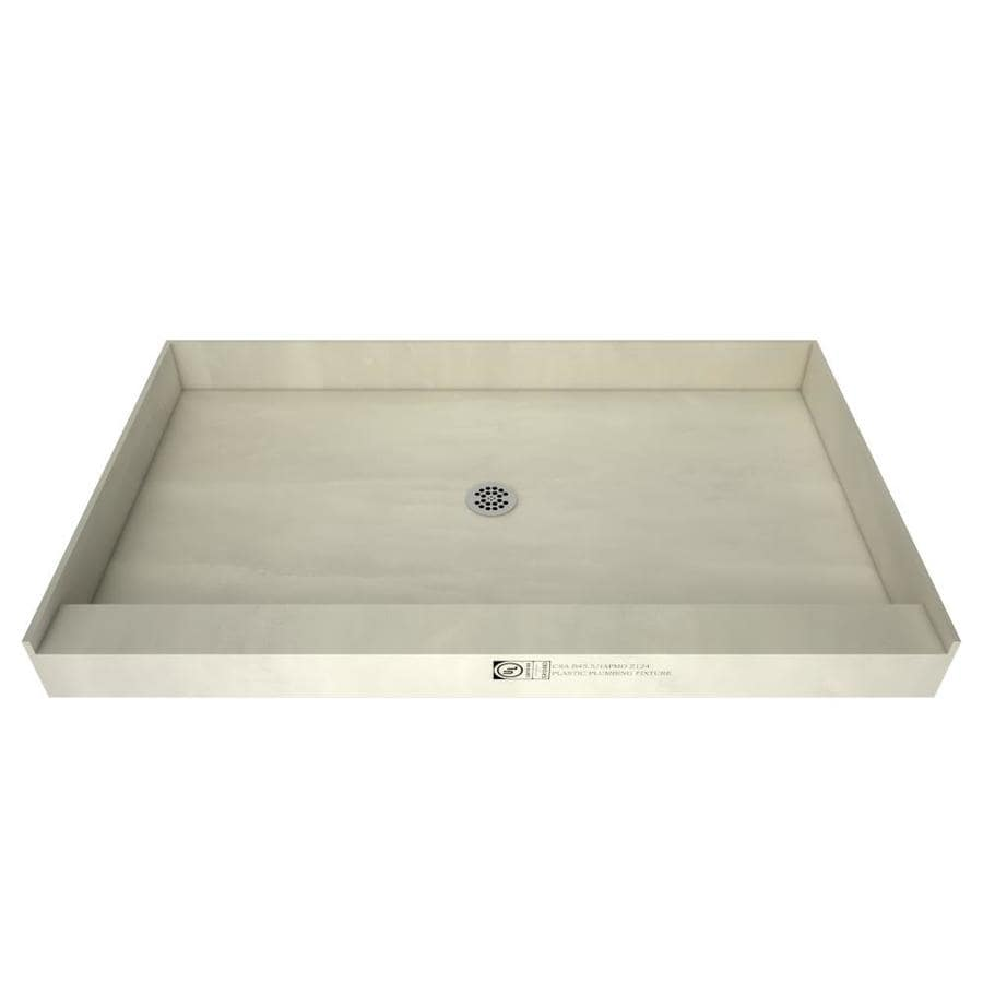 Tile Ready 60-in L x 37-in W Made for Tile Fiberglass/Plastic Composite Shower Base (Drain Included)