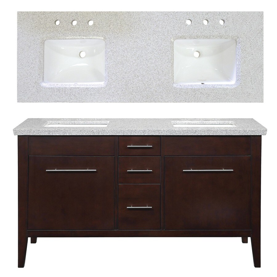 allen + roth Newfield 60-in x 22-in Espresso Undermount Double Sink Bathroom Vanity with Granite Top