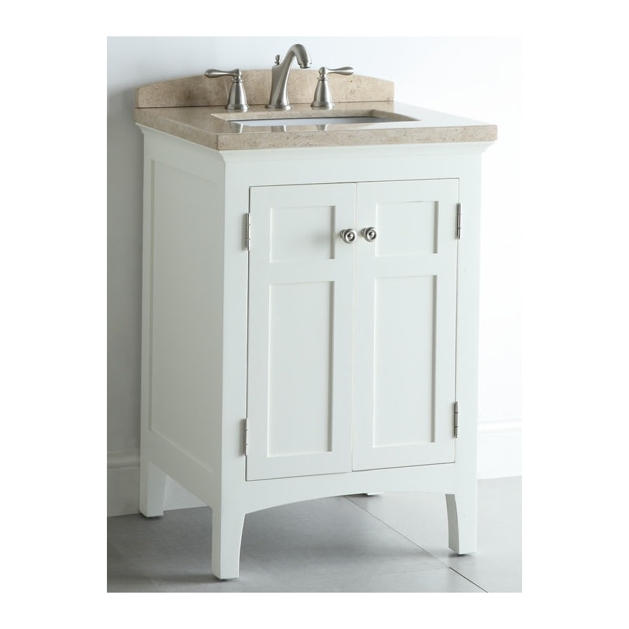 allen + roth Windleton White with Weathered Edges Undermount Single Sink Asian Hardwood Bathroom Vanity with Natural Marble Top (Common: 24-in x 20-in; Actual: 24-in x 20.63-in)