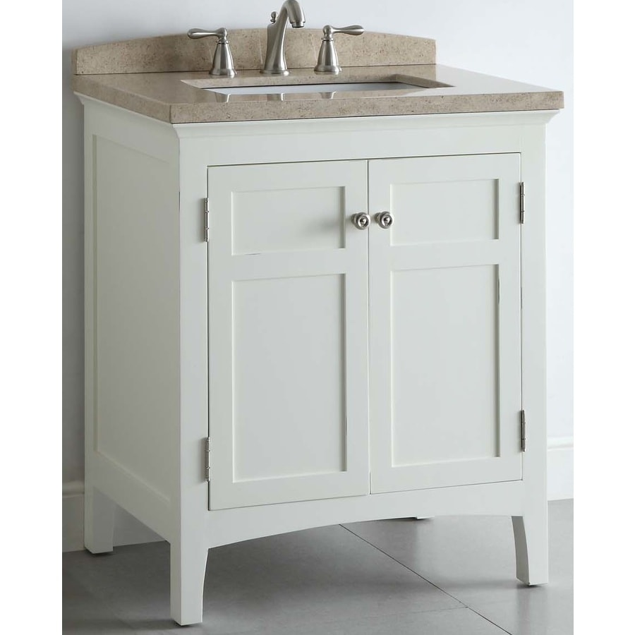 allen + roth Windleton White with Weathered Edges Undermount Single Sink Asian Hardwood Bathroom Vanity with Natural Marble Top (Common: 30-in x 20-in; Actual: 30-in x 20.63-in)