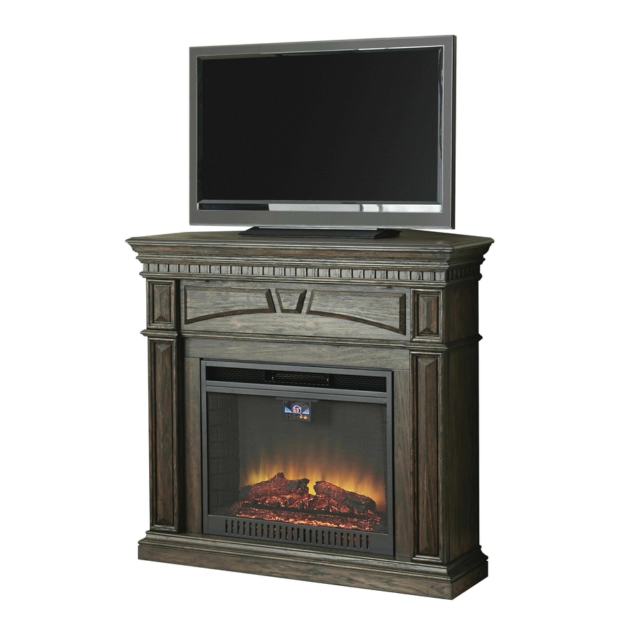 Style Selections 47.5-in W 5,120-BTU Dark Driftwood Wood and Metal Corner or Flat Wall Fan-Forced Electric Fireplace with Thermostat and Remote Control