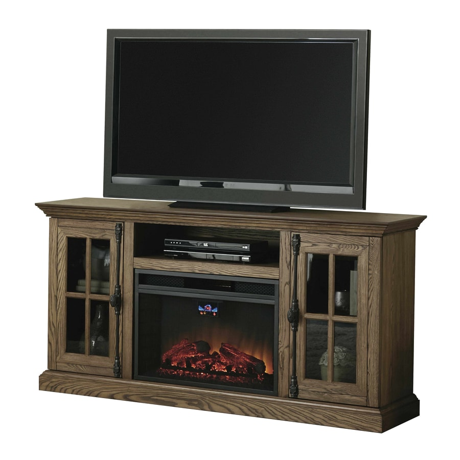 Style Selections 68-in W 5,120-BTU Oak Wood and Metal Infrared Quartz Electric Fireplace with Thermostat and Remote Control