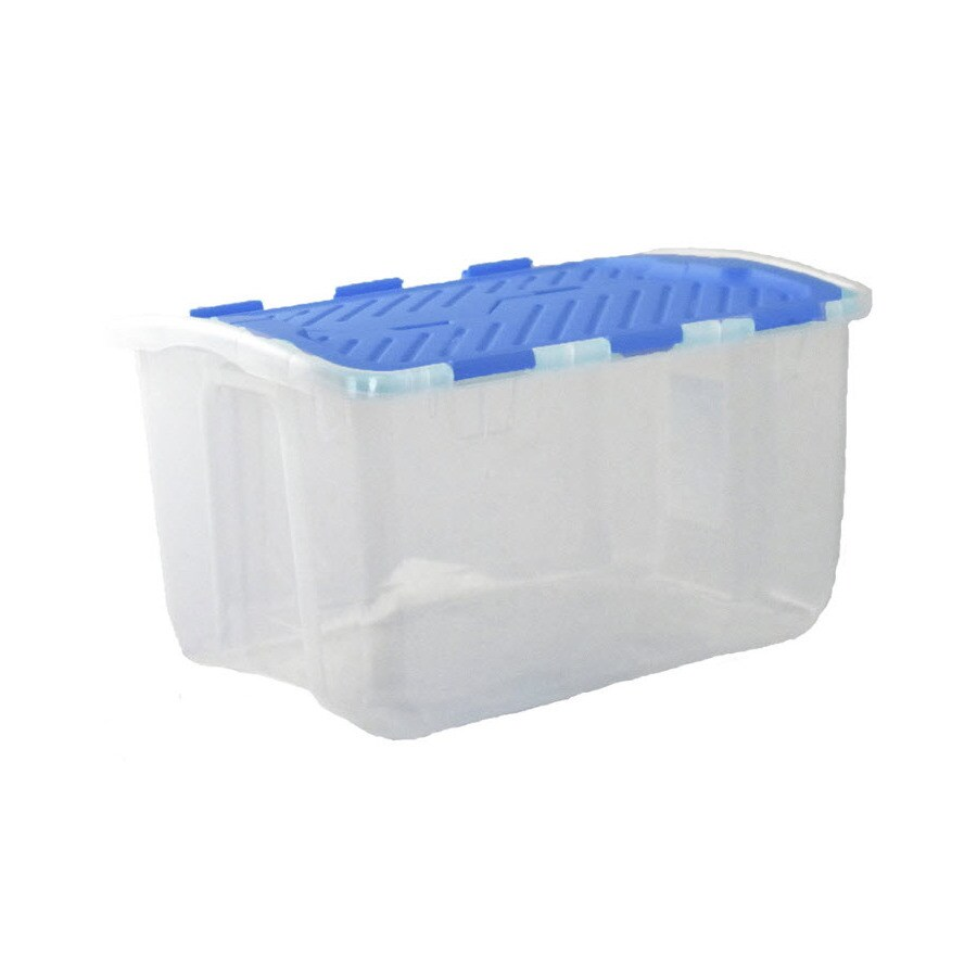 Real Organized 12-Gallon Clear Tote with Hinged Lid