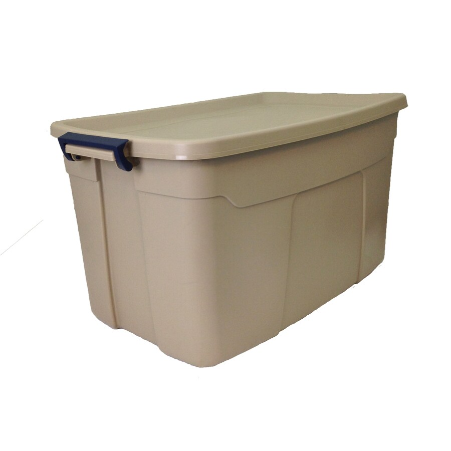 Centrex Plastics, LLC Rugged Tote 31-Gallon Brown Tote with Latching Lid