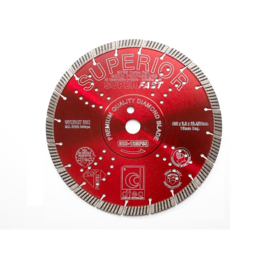"Dtec 12"" SUPERIOR DIAMOND BLADE - Wet/Dry Multi-Purpose Segmented Turbo"
