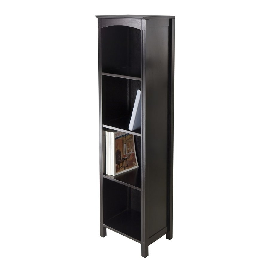 Winsome Wood Terrace Espresso 14.5-in W x 56-in H x 11.8-in D 4-Shelf Bookcase