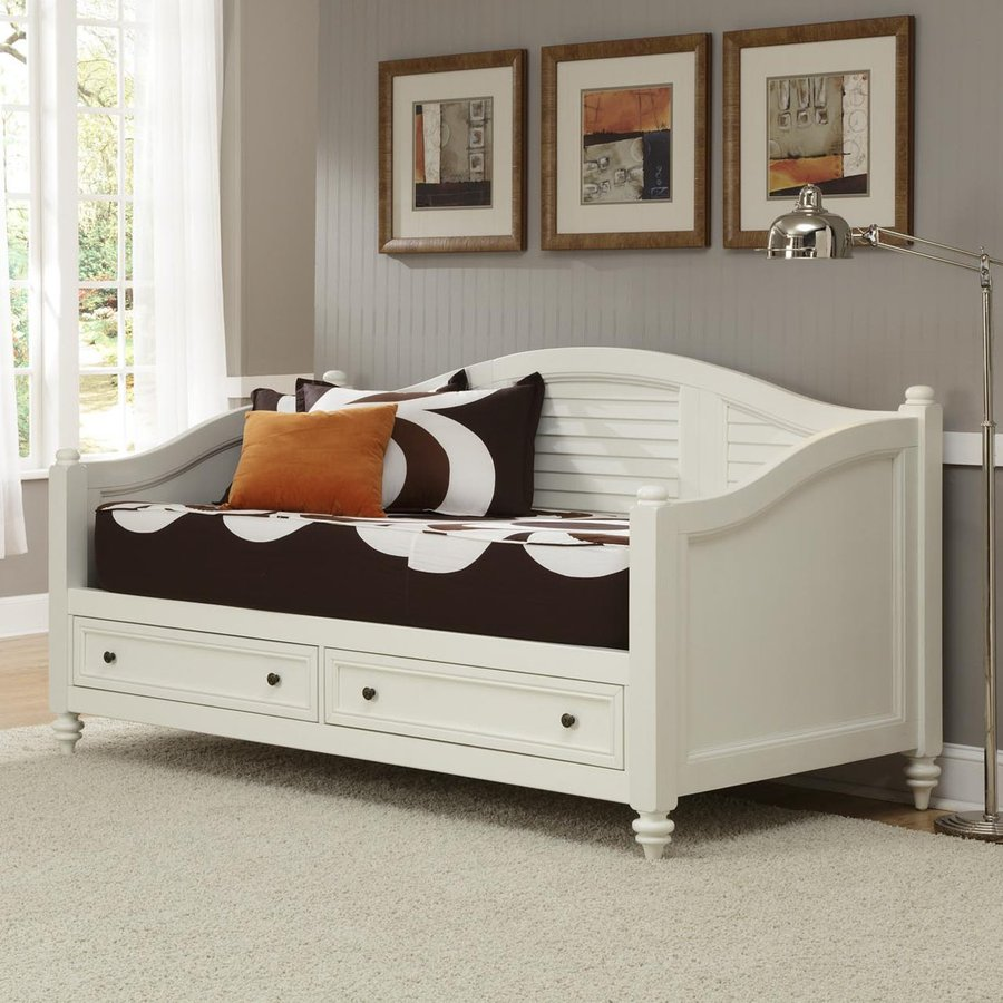 shop home styles bermuda brushed white twin daybed with under bed storage at. Black Bedroom Furniture Sets. Home Design Ideas