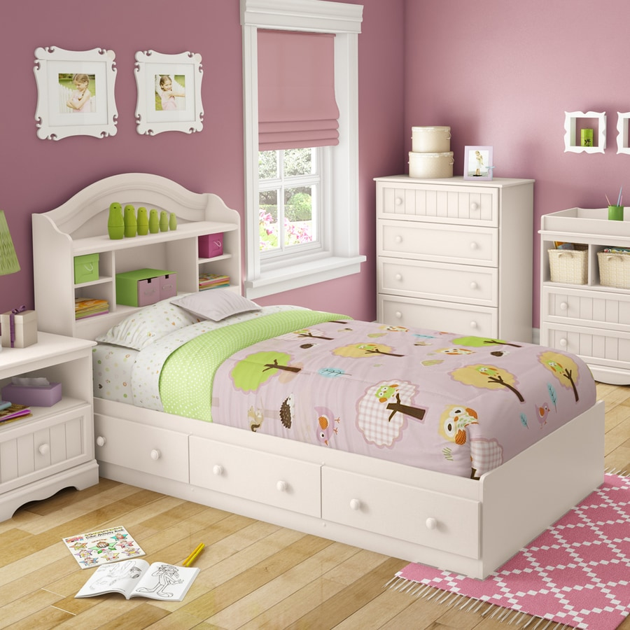 South Shore Furniture Savannah White Twin Platform Bed with Storage