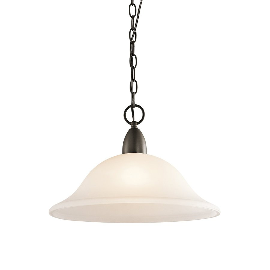 Kichler Lighting Nicholson 16-in Olde Bronze Country Cottage Hardwired Single Etched Glass Bell Pendant
