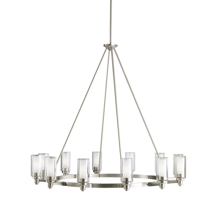 Kichler Lighting Circolo 44.5-in 12-Light Brushed Nickel Clear Glass Shaded Chandelier