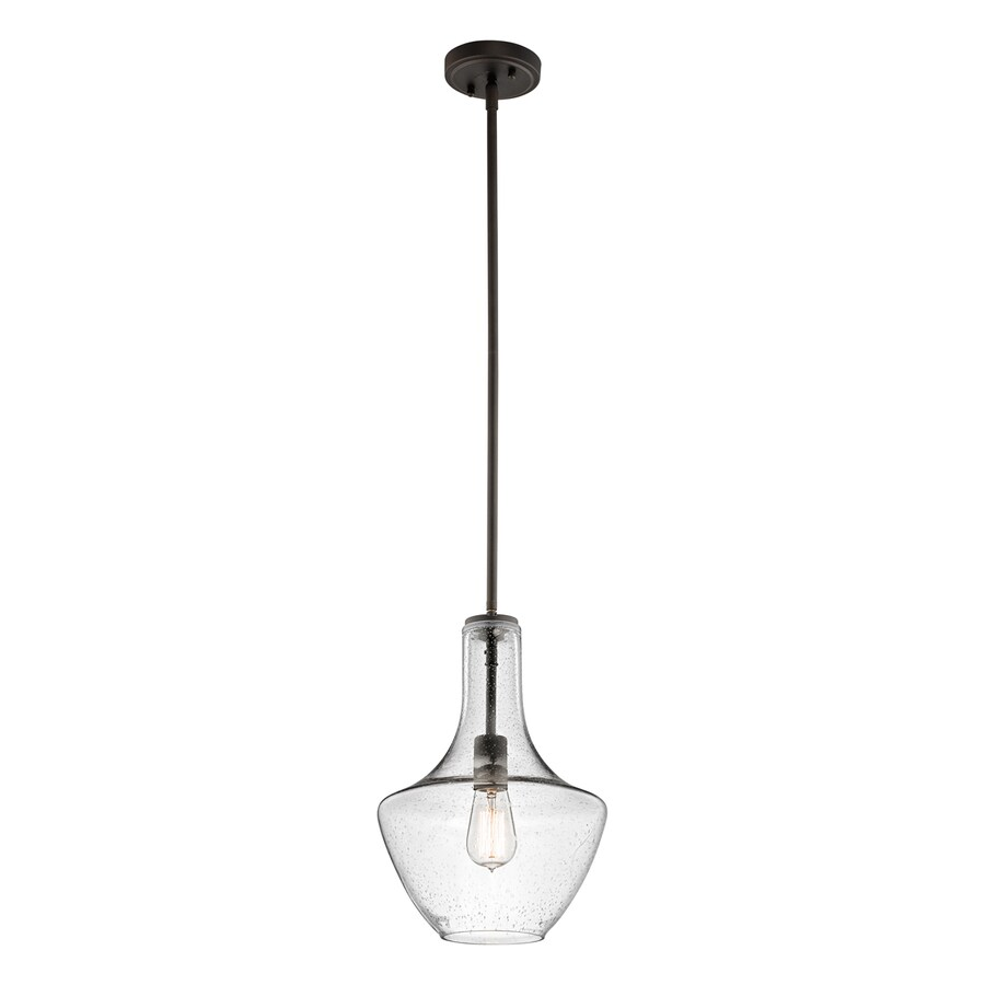 Kichler Lighting Everly 10.5-in Olde Bronze Industrial Hardwired Single Seeded Glass Teardrop Pendant