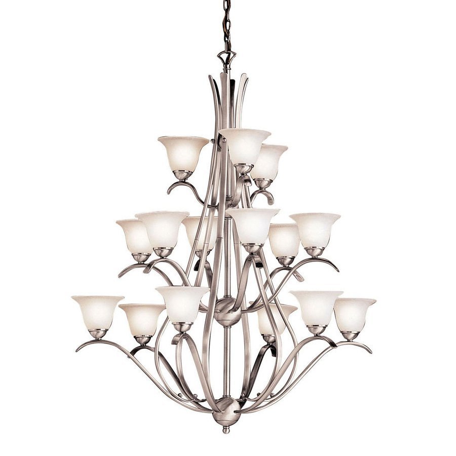 Kichler Lighting Dover 36.5-in 15-Light Brushed Nickel Country Cottage Seeded Glass Tiered Chandelier
