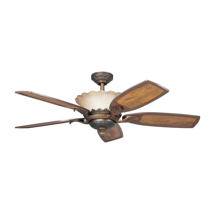 Kichler Lighting Golden Iridescence 52-in Oiled Bronze Downrod Mount Indoor Ceiling Fan with Remote (5-Blade)