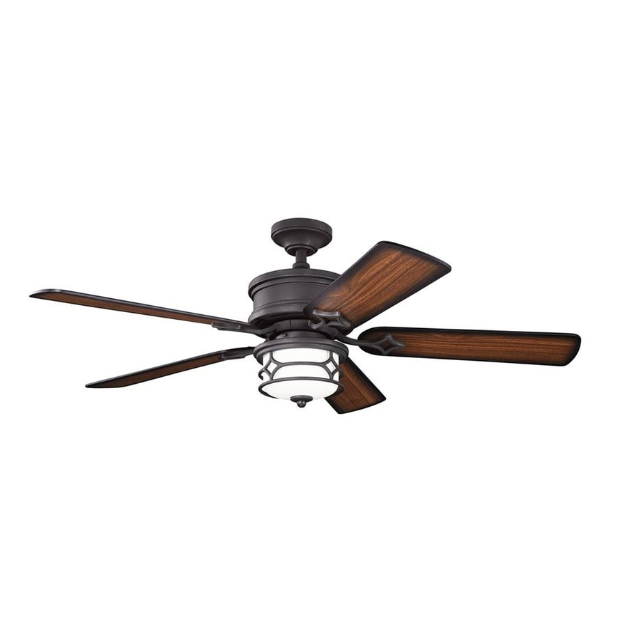 Kichler Lighting Chicago 52-in Distressed Black Downrod or Close Mount Indoor Ceiling Fan with Light Kit and Remote (5-Blade)