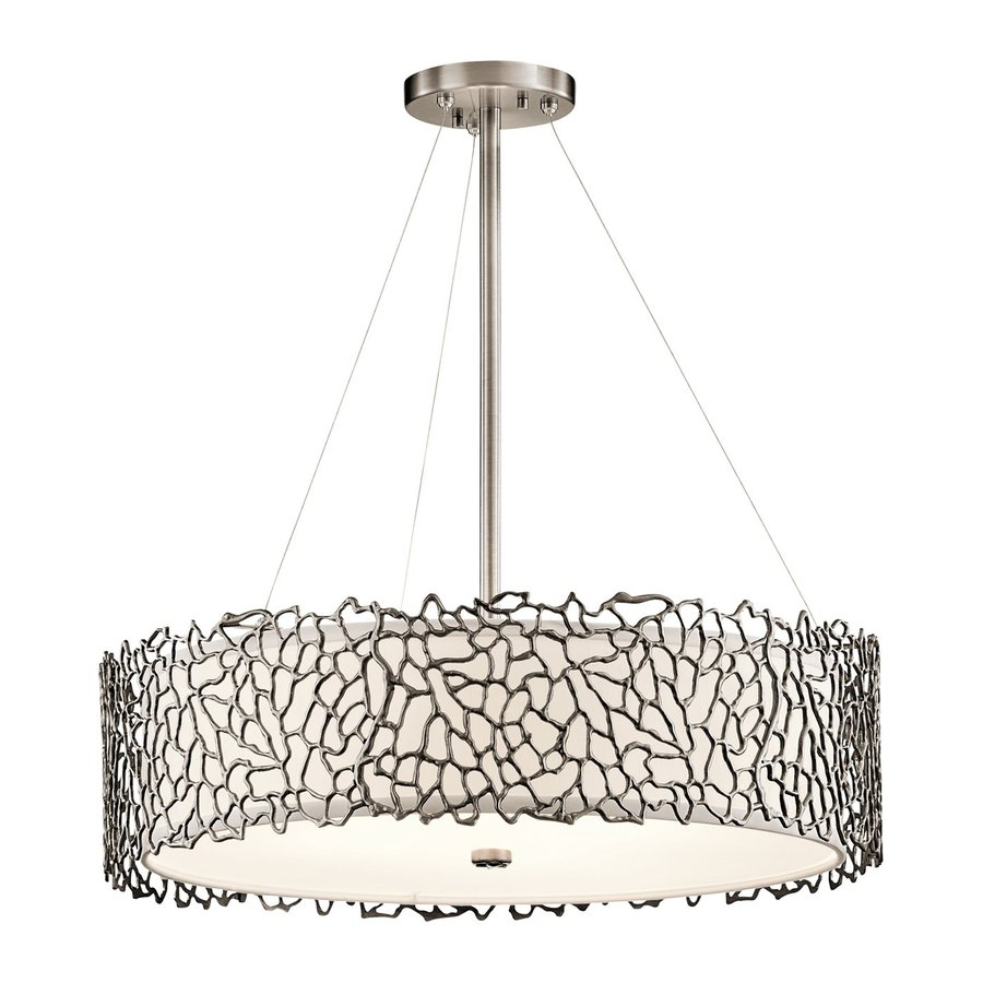 Kichler Lighting Silver Coral 22-in Classic Pewter Hardwired Single Etched Glass Drum Pendant