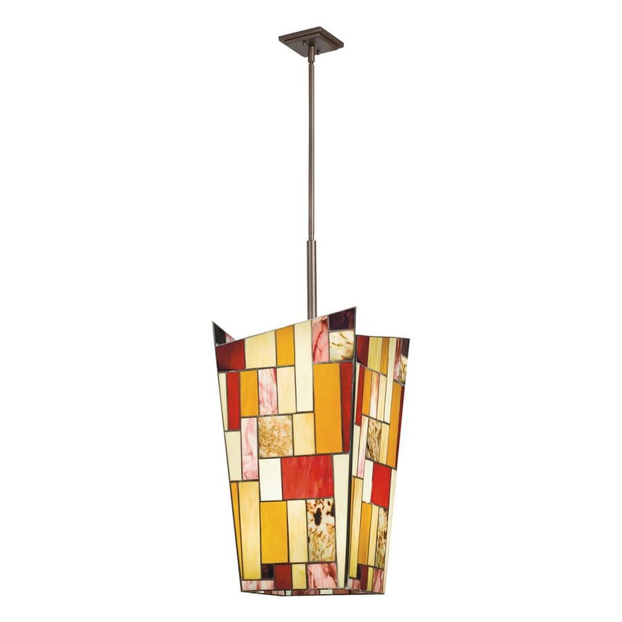 Kichler Lighting Shindy 15-in Olde Bronze Tiffany-Style Hardwired Single Stained Glass Geometric Pendant