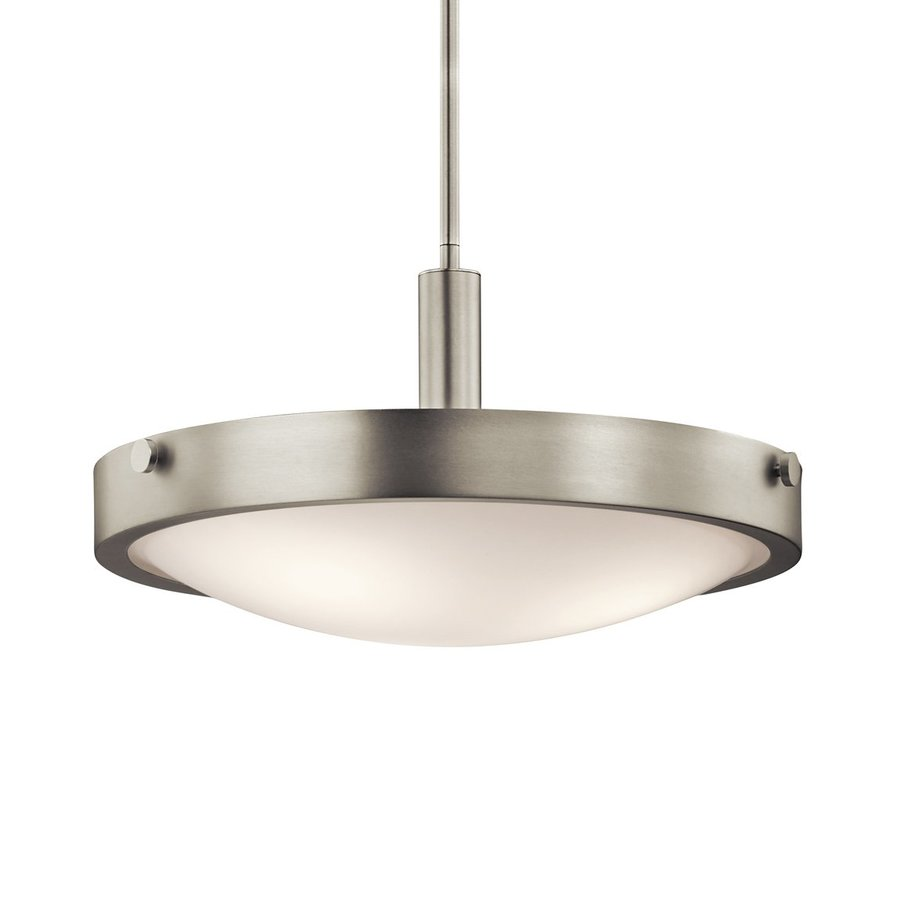 Kichler Lighting Lytham 17.5-in Brushed Nickel Industrial Hardwired Single Etched Glass Bowl Pendant