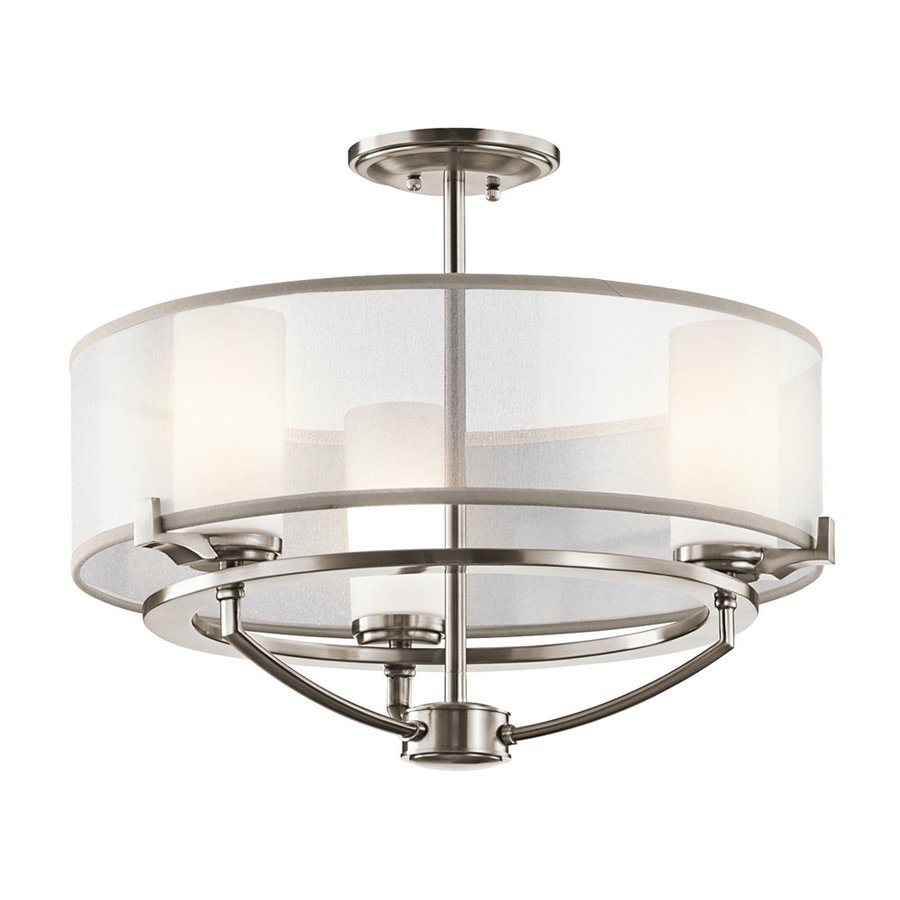 Kichler Lighting Saldana 18-in 3-Light Classic Pewter Etched Glass Drum Chandelier