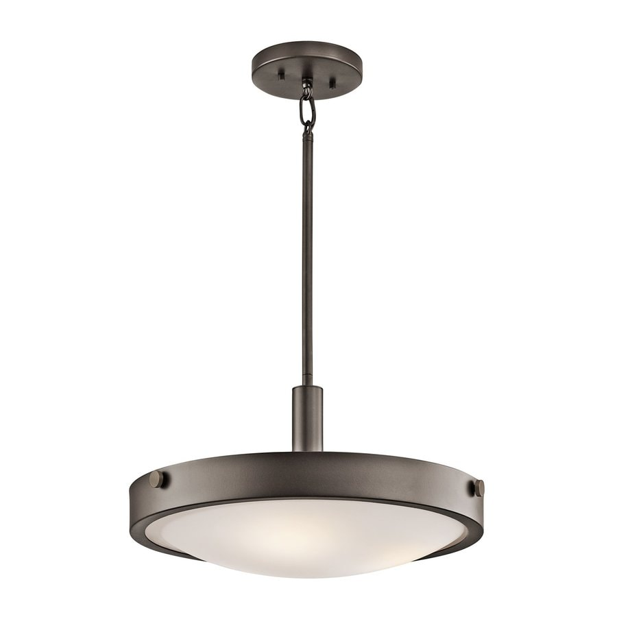 Kichler Lighting Lytham 17.5-in Olde Bronze Industrial Hardwired Single Etched Glass Bowl Pendant