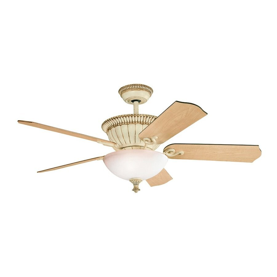 Kichler Lighting Larissa 52-in Aged White Downrod Mount Indoor Ceiling Fan with Light Kit and Remote (5-Blade)