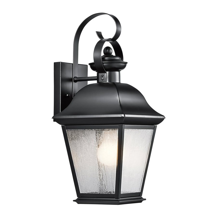Outside Wall Lights In Black : Shop Kichler Lighting Mount Vernon 16.75-in H Black Outdoor Wall Light at Lowes.com