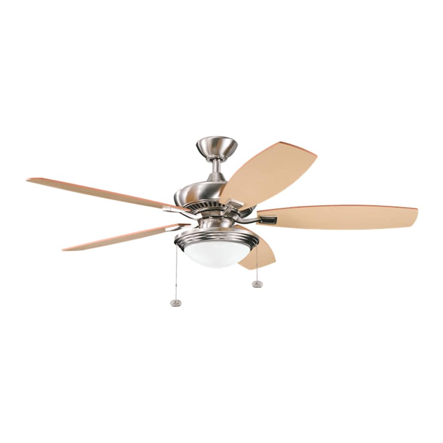 Kichler Lighting Canfield Select 52-in Brushed Stainless Steel Downrod Mount Indoor Ceiling Fan with Light Kit (5-Blade) ENERGY STAR