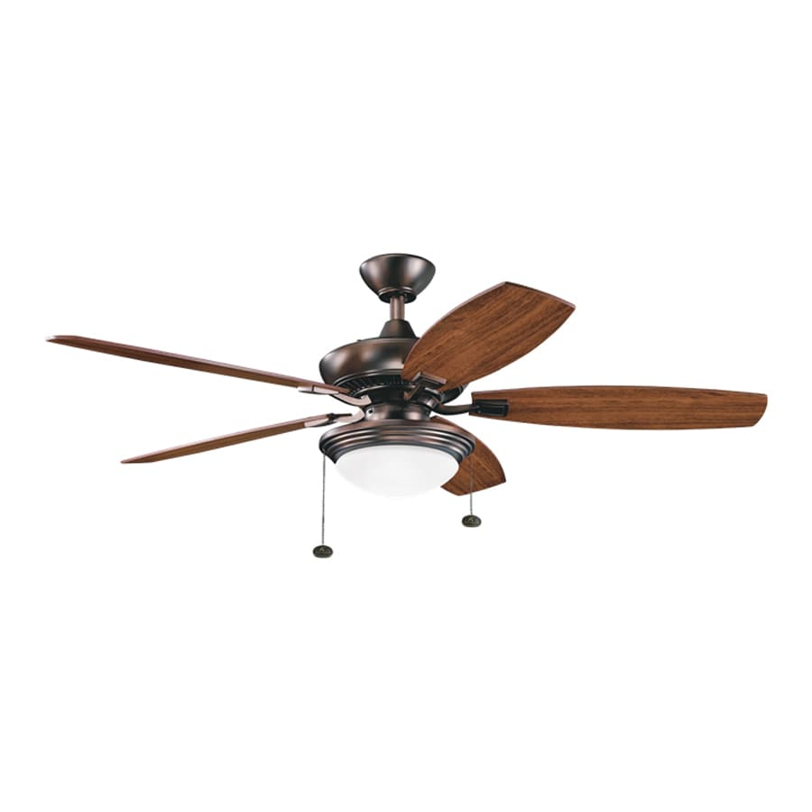 Kichler Lighting Canfield Select 52-in Oil Brushed Bronze Downrod Mount Indoor Ceiling Fan with Light Kit (5-Blade) ENERGY STAR