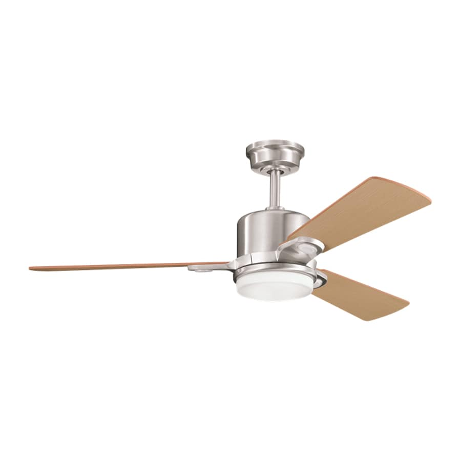 shop kichler lighting celino 48 in brushed stainless steel downrod mount indoor ceiling fan with. Black Bedroom Furniture Sets. Home Design Ideas