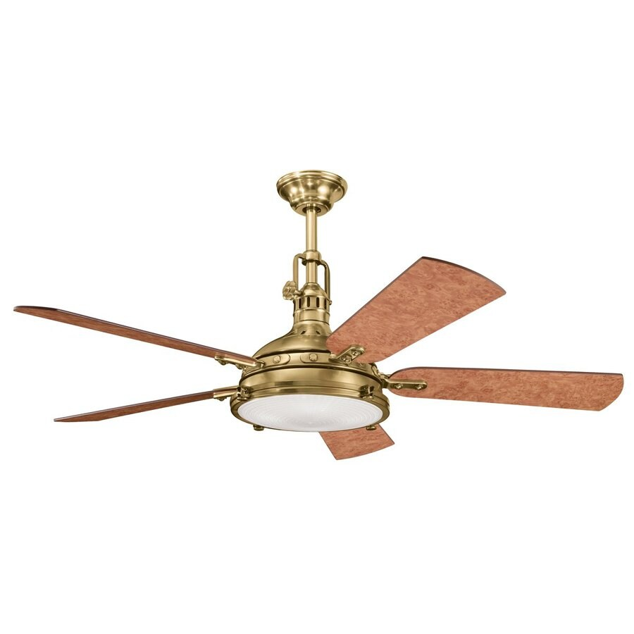 Kichler Lighting Hatteras Bay 56-in Burnished Antique Brass Downrod or Close Mount Indoor Ceiling Fan with Light Kit and Remote (5-Blade)