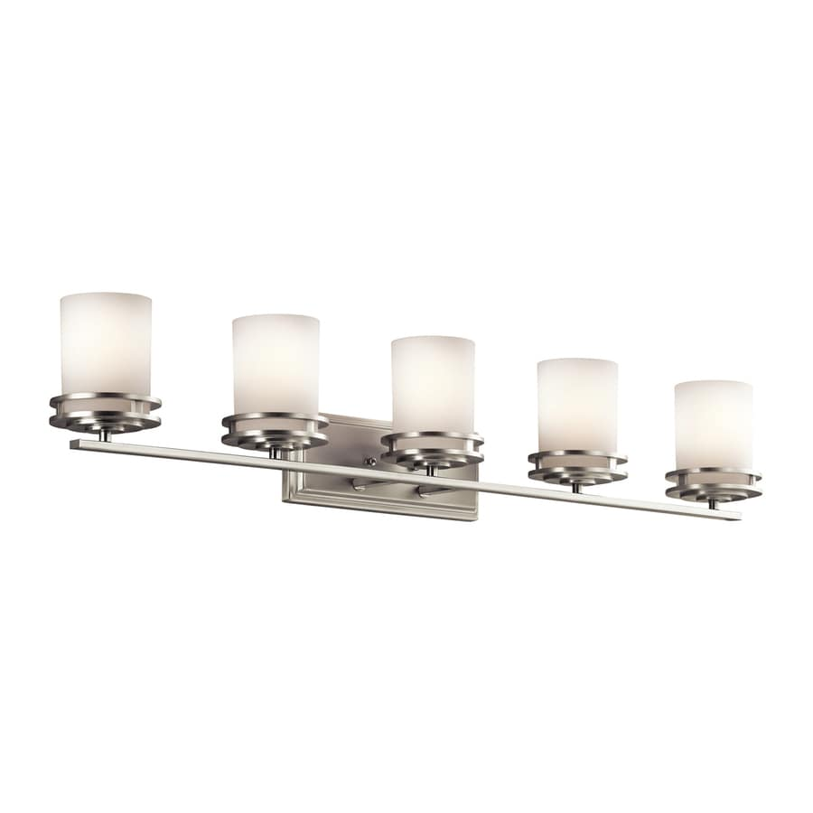 lighting 5 light hendrik brushed nickel bathroom vanity light at lowes. Black Bedroom Furniture Sets. Home Design Ideas
