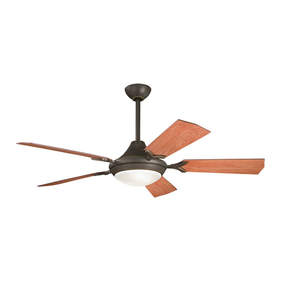 Kichler Lighting Bellamy 54-in Olde Bronze Downrod Mount Indoor Ceiling Fan with Light Kit and Remote (5-Blade)