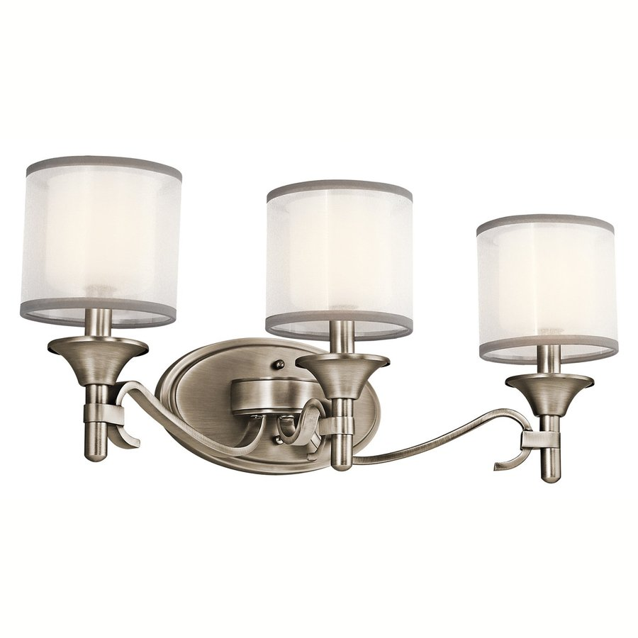 shop kichler lighting 3 light lacey antique pewter bathroom vanity light at. Black Bedroom Furniture Sets. Home Design Ideas