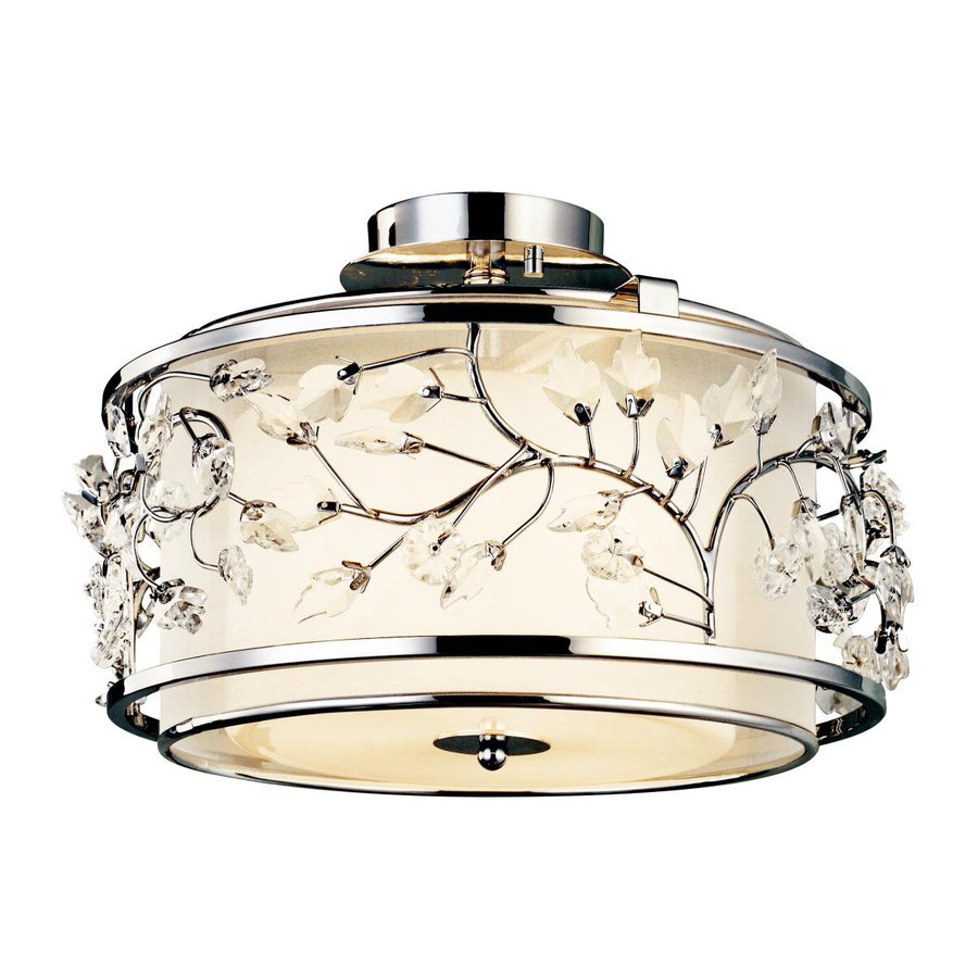 Kichler Lighting Jardine 15.5-in W Chrome Etched Glass Crystal Accent Semi-Flush Mount Light