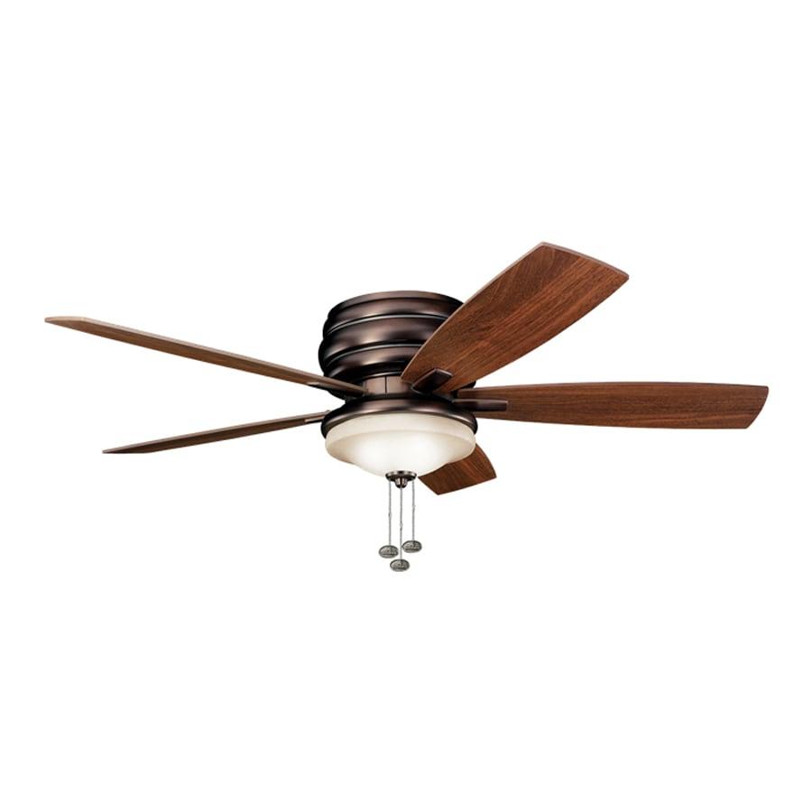 Kichler Lighting Windham 52-in Oil Brushed Bronze Flush Mount Indoor Ceiling Fan with Light Kit (5-Blade)