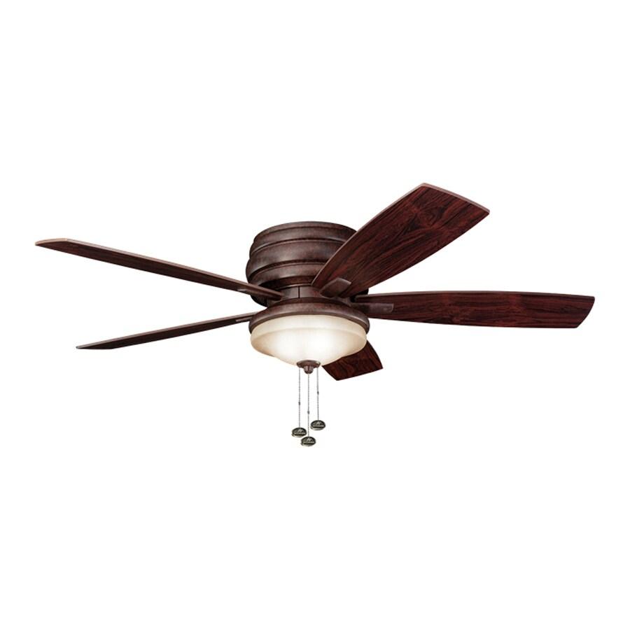 Kichler Lighting Windham 52-in Tannery Bronze Flush Mount Indoor Ceiling Fan with Light Kit (5-Blade)