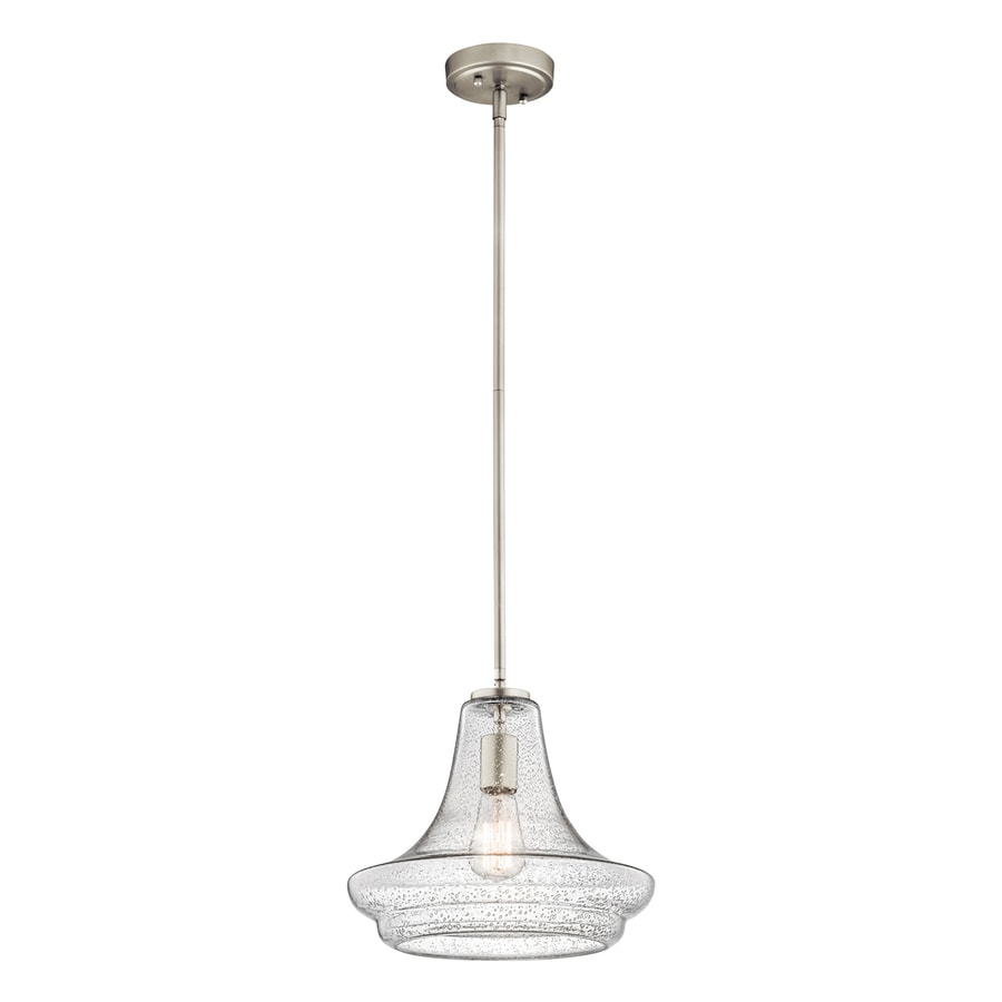 Kichler Lighting Everly 12.5-in Brushed Nickel Vintage Hardwired Single Seeded Glass Schoolhouse Pendant