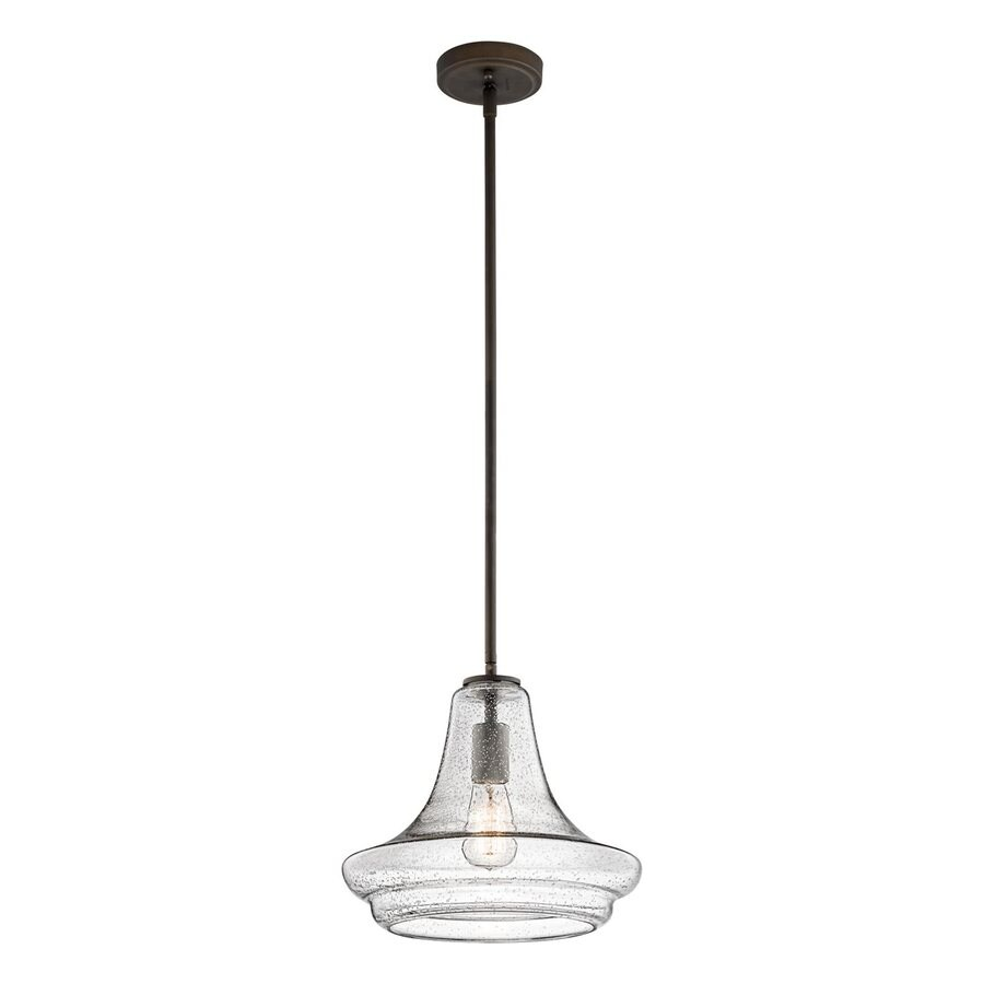 Kichler Lighting Everly 12.5-in Olde Bronze Vintage Hardwired Single Seeded Glass Schoolhouse Pendant
