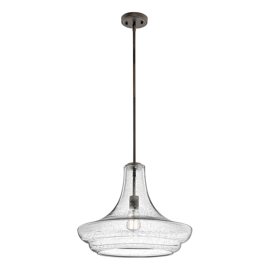 Kichler Lighting Everly 19-in Olde Bronze Vintage Hardwired Single Seeded Glass Schoolhouse Pendant