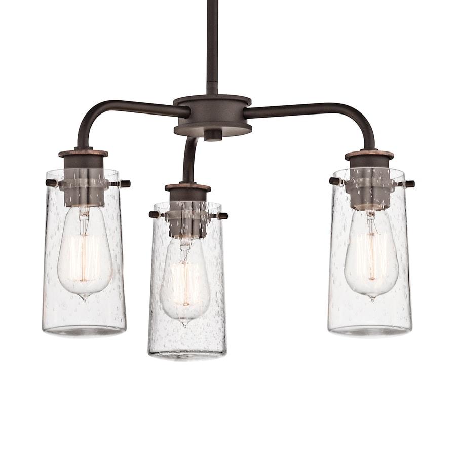Kichler Lighting Braelyn 18-in 3-Light Olde Bronze Industrial Seeded Glass Shaded Chandelier