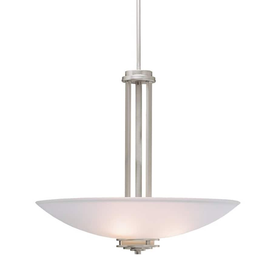 Kichler Lighting Hendrik 24-in Brushed Nickel Hardwired Single Etched Glass Bowl Pendant