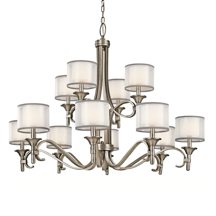Kichler Lighting Lacey 42-in 12-Light Antique Pewter Vintage Etched Glass Tiered Chandelier