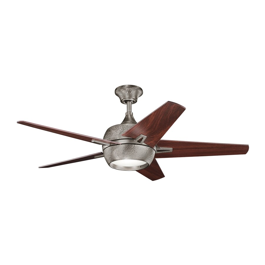 Kichler Lighting Makoda 52-in Burnished Antique Pewter Downrod Mount Indoor Ceiling Fan with Light Kit and Remote (5-Blade)