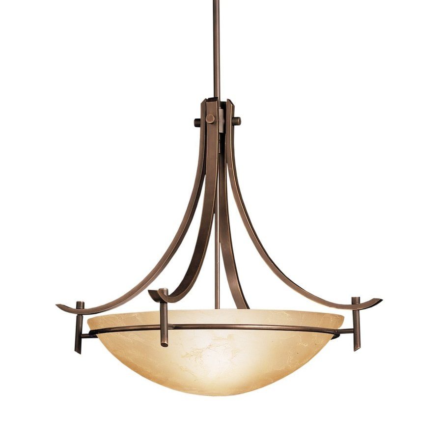 Kichler Lighting Olympia 24-in Olde Bronze Hardwired Single Marbleized Glass Bowl Pendant