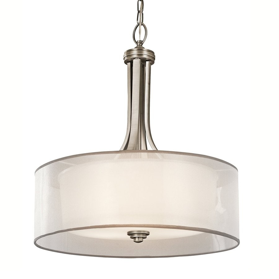 Kichler Lighting Lacey 20-in Antique Pewter Hardwired Single Etched Glass Drum Pendant