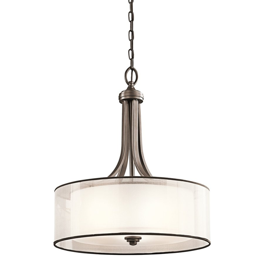 Kichler Lighting Lacey 20-in Mission Bronze Hardwired Single Etched Glass Drum Pendant