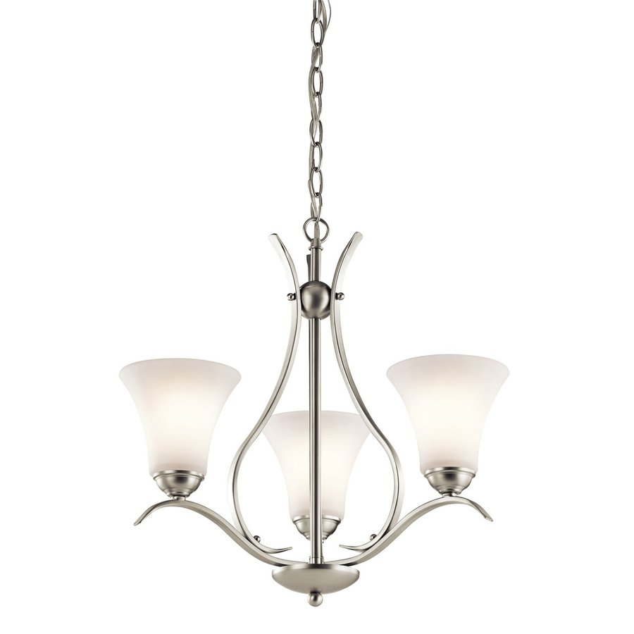 Kichler Lighting Keiran 20.75-in 3-Light Brushed Nickel Etched Glass Shaded Chandelier