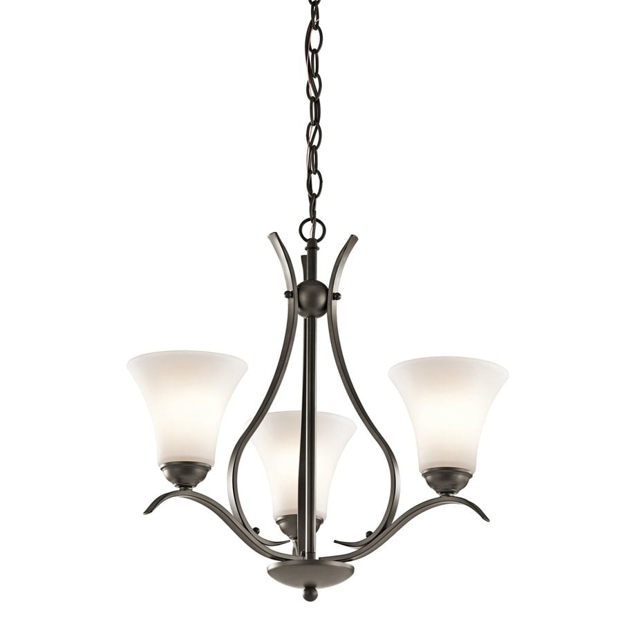 Kichler Lighting Keiran 20.75-in 3-Light Olde Bronze Etched Glass Shaded Chandelier