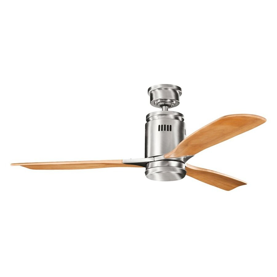 Kichler Lighting Ridley 52-in Brushed Stainless Steel Downrod Mount Indoor Ceiling Fan with Light Kit and Remote (3-Blade)