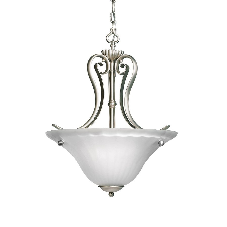 Kichler Lighting Willowmore 16-in Brushed Nickel Country Cottage Hardwired Single Etched Glass Bowl Pendant